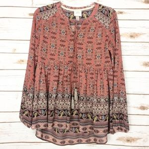 Knox Rose Floral Peasant Boho Top Size Small